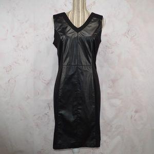 Sharagano Black Sheath Dress Faux Leather Size 14